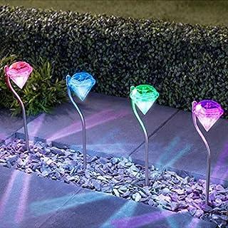 Ancdream 8 Stück Edelstahl Diamond LED Solar Lampe, 12 V, wasserfest, für den Garten