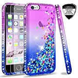 LeYi Custodia iPhone 6/iPhone 6S Glitter Cover con Vetro Temperato [2 Pack],Brillantini Diamond Liquido Sabbie Mobili Bumper Case Custodie per Apple iPhone 6/iPhone 6S Donna ZX Purple Blue Gradient