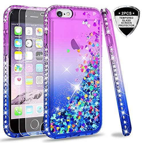 LeYi Hülle iPhone 6 / iPhone 6S Glitzer Handyhülle mit Panzerglas Schutzfolie(2 Stück),Cover Diamond Bumper Schutzhülle für Case iPhone 6 / iPhone 6S Handy Hüllen ZX Gradient Purple Blue