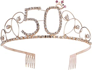 Crystal Tiara Birthday Crown Princess Crown Hair Accessories Diamante Happy 50th Birthday (Gold)