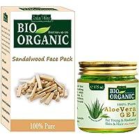 INDUS VALLEY Bio Organic Non-Toxic Aloe Vera Gel for Acne, Scars, Glowing & Radiant Skin Treatment (175ml + 200g)