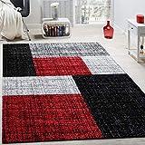 Paco Home Diseño Moderno Alfombra/Cuadros/Rojo Negro Gris, 120x170 cm