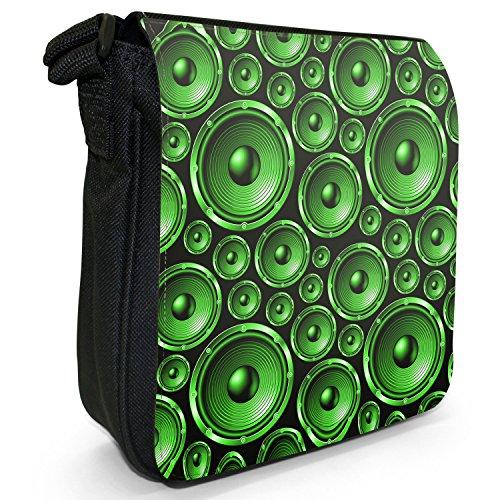 Riesiges Musikchaos mit Lautsprechern Kleine Schultertasche aus schwarzem Canvas Muster mit Lautsprechern Grün