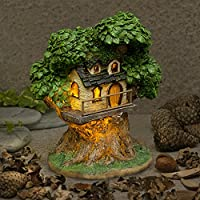 Garden Glows Fairy Dwelling - THE HOME OF HAZEL CORNWITCH - Fairy Treehouse - for indoor outdoor use - with 3 solar powered LEDs