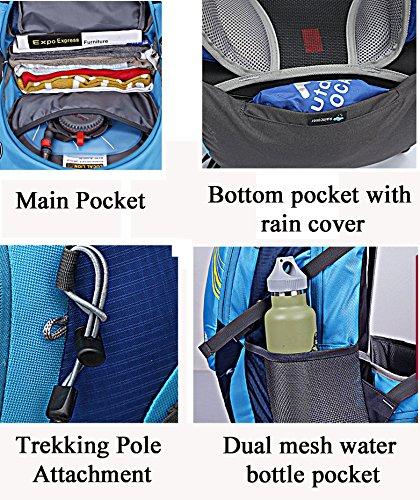 Cuckoo 40L leichter wasserdichter Camping Reisen Radfahren Wandern Rucksack mit Regen Abdeckung Laptop Abteil Hydratation Blase Pack Schwarz + W