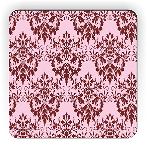 Rikki Knight Shabby Chic Rot auf Rosa Damast Design Quadratisch Kühlschrank Magnet