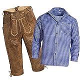 Gaudi-Leathers, Homme Set Pantalon en cuir traditionnel Kniebund brun clair 56 + bretelles + Chemise traditionnelle en bleu blanc à damier XXL