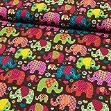 Baumwoll Jersey bunte Elefanten braun -Preis gilt für 0,5