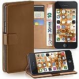 moex iPhone 4S | Hülle Braun mit Karten-Fach 360° Book Klapp-Hülle Handytasche Kunst-Leder Handyhülle für iPhone 4/4S Case Flip Cover Schutzhülle Tasche