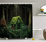Shower Curtain Duschvorhang Fantasy, Surreal Little Forest House in moosgrün Enchanted Woodland mit Elfen Design, Stoff Badezimmer Decor Set mit Haken, Armee und Hunter Grün 152,4 x 182,9 cm