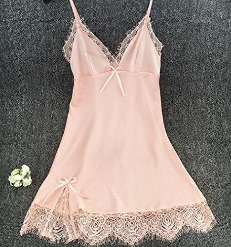 QYYDSY Marke Mini Nachtwäsche Für Frauen Spitze Satin Seide Nachtwäsche Nachthemden Mit Riemen V-Ausschnitt Schlafanzug Nacht anzüge M rosa - Satin Seide Riemen