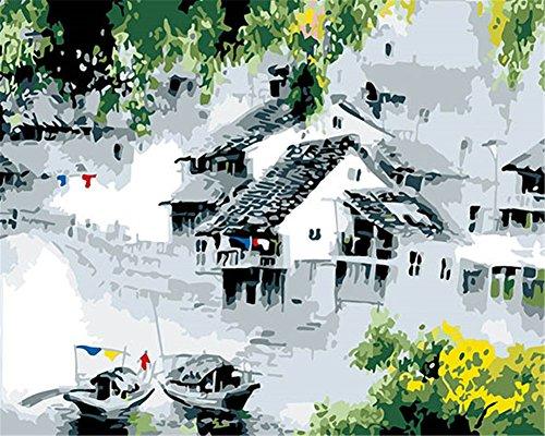(CaptainCrafts Neu Malen Nach Zahlen 16x20 für Erwachsene, Kinder Leinwand - Jiangnan Dorf, Tile - Roofed House Boat (Ohne Frame))