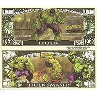 Novelty Dollar The Incredible Hulk American Comic Book Super Hero Million Dollar Bills x 2