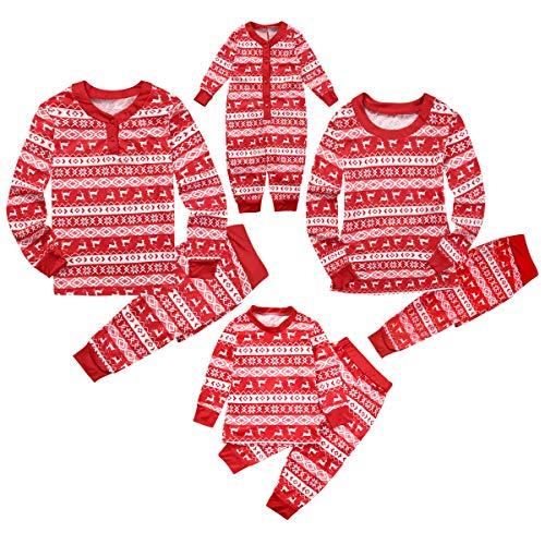 Hailouhai Familie Weihnachten passenden Neugeborenen Baby Kinder Mama Papa Langarm Pyjamas Red Nachtwäsche Nachtwäsche Homewear Set (Baby-9 Monate, rot)