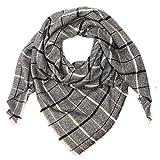 Distressed XXL Damen Oversized Schal Ÿbergro§er Deckenschal Karo Plaid Muster kariert Poncho - grau