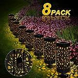 Nasharia Solarleuchte Garten, 8 Stück LED Solarlampe Gartenleuchte Bahn Lichter Außenleuchte Wasserdicht IP65 Lichteffekt Dekoration Licht für Terrasse Rasen Garten Hinterhöfe Wege (Warmweiße)