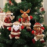 زينة عيد الميلاد 2021، 4 حزمة زينة شجرة عيد الميلاد الحلي عيد الميلاد هدية سانتا كلوز رجل الثلج شجرة لعبة دمية