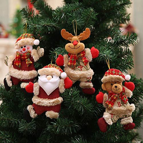 Weihnachts Deko,Wawer 4 stück Weihnachts Puppen Ornament Weihnachtsbaum Schmuck Anhänger Plüsch Puppen Figuren Fenster Dekoration Urlaub Dekoration Kinder Geschenke