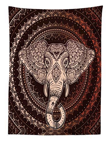 ABAKUHAUS Étnico Tapiz de Pared y Cubrecama Suave, Oriental Cabeza de Elefante en Mandala Círculo con Líneas Diseño Folk Tótem, No se Desliza de la Cama, 110 x 150 cm, Granate