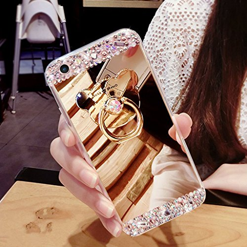 Für Samsung Galaxy S6 Edge Hülle,Galaxy S6 Edge Hülle Bling Glitzer Kristall Strass Diamant Spiegel Hülle,EMAXELERS Galaxy S6 Edge Case Cute Lovely Bär Ring Holder Weich TPU,Galaxy S6 Edge Hülle Silik U Bear TPU 2