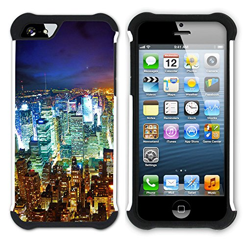 Graphic4You Brooklyn Bridge New York Postkarte Ansichtskarte Design Hart + Weiche Kratzfeste Hülle Case Schale Tasche Schutzhülle für Apple iPhone SE / 5 / 5S Design #2