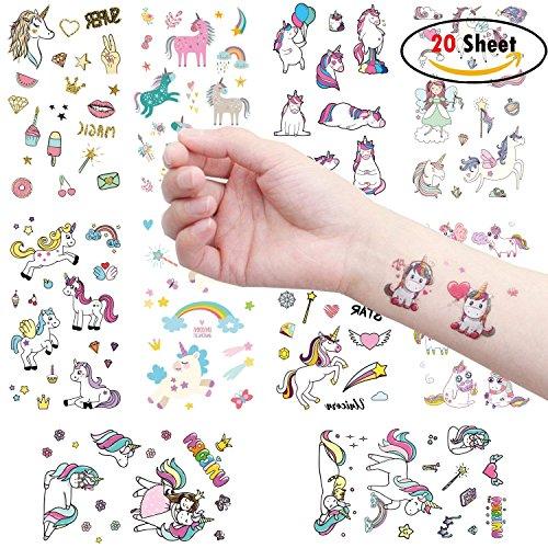 Clerfy Acc 500pcs Unicornio Tatuajes temporales