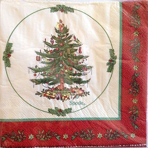 Spode Christmas 403-lagig Mittagessen Servietten, rot Bordüre -
