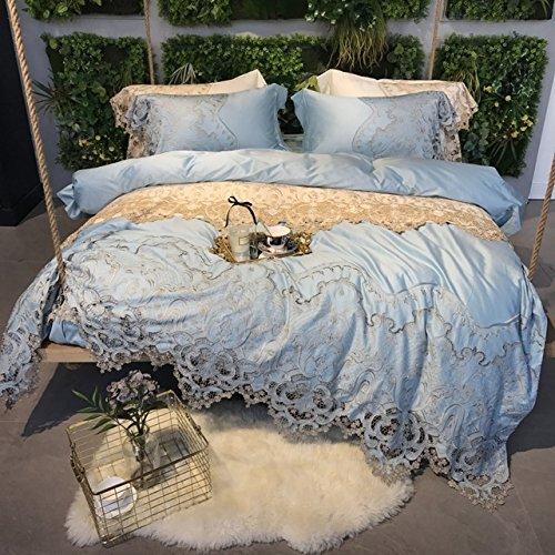 LifeisPerfect 4 Pcs 100% ägyptische Baumwolle Luxus Super Qualität 100 S Große Spitze Bettwäsche Blau/Champagner/Weiß Bettdecken Königin König Blatt