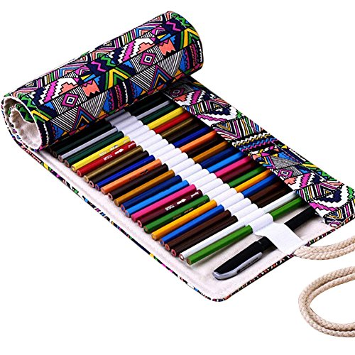 Rokoo 36/48/72 Trous Canvas Wrap Roll Up Pencil Pen Case Bag Holder Storage Pouch
