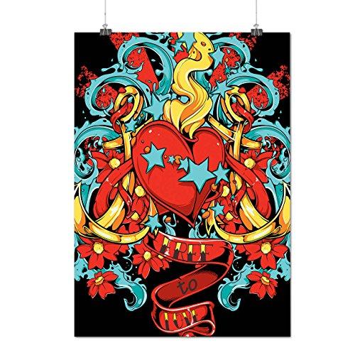 Frei Nach Liebe Valentine Feuer Herz Mattes/Glänzende Plakat A4 (30cm x 21cm)   (Frau Kostüm Halloween Feuer)