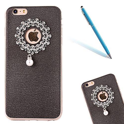 Clear Crystal Rubber Protettivo Case Skin per Apple iPhone 6/6s 4.7, CLTPY Moda Brillantini Glitter Sparkle Lustro Progettare Protezione Ultra Sottile Leggero Cover per iPhone 6,iPhone 6s + 1x Stilo  Nero 1