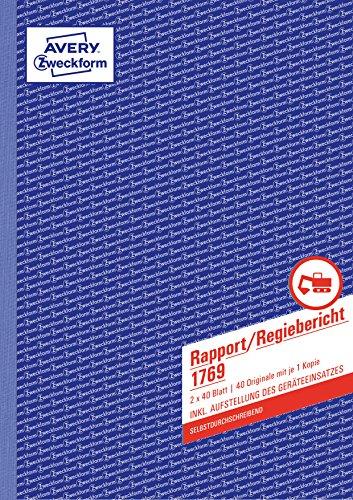 AVERY Zweckform 1769 Rapport/Regiebericht (A4, selbstdurchschreibend, 2x40 Blatt) weiß/gelb