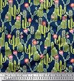 Soimoi Blau Baumwolle Batist Stoff Protea Blume & Kaktus