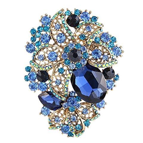 EVER FAITH® Damen österreichische Kristall Orchid Tropfen Brosche blau Gold-Ton