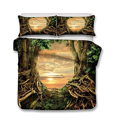 Stillshine Bettwäsche Set Bettbezug und Kissenbezug Traumwelt Bettwäsche mit verdecktem Reißverschluss 100% Polyesterfaser (Alter Baum, 220x230cm)