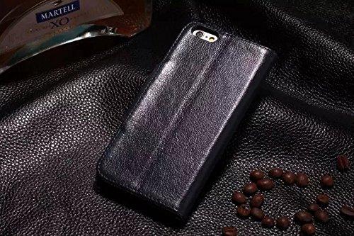 Luxus Echtes Leder Etui Geldbörse Horizontale Flip Folio Stand Case Cover mit magnetischen Wölbung & Card Slots Für Iphone 6 Plus & 6s Plus ( Color : Brown ) Blue