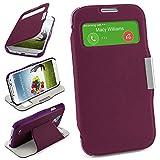 MoEx Bolso OneFlow para Funda Samsung Galaxy S4 Cubierta con Ventana | Estuche Flip Case Funda móvil Plegable | Bolso móvil Funda Protectora Accesorios móvil protección paragolpes en Indego-Violet