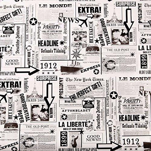Geschenkpapier Zeitung - schwarz-weiß - 2 m x 0,70 m - Surprise - BUTLERS