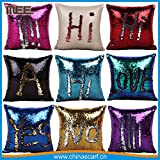 PH Artistic Stylish Sequin Throw Pillow Cover with Magical Color Changing Reversible Palette Design Faux Suede Decor Cushion Pillowcase (Colour May Vary) 1 Pc.