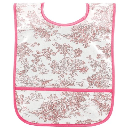 AM PM Kids! AM PM Kids! Laminated Bib, Pink Toile, Small