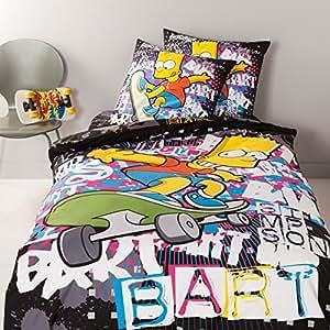 Simpsons Parure housse de couette BART Graffiti 240 x 220 + 2 taies 65 x 65 cm