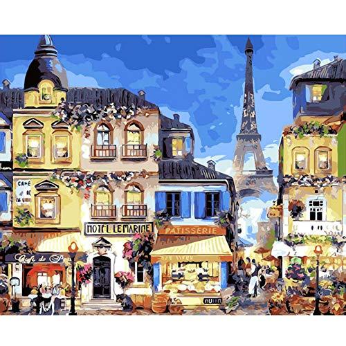 shiyusheng Malen nach Zahlen DIY Paris Maritime Hotel Landschaft Leinwand Leinen Home Decoration Bild Zeichnung Acryl Dekor Kunst 40x50 cm