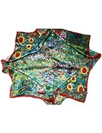 Prettystern P636 - 90cm carré en pure soie Foulard représentant GUSTAV KLIMT - Le Jardin aux Tournesols