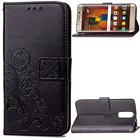 GR For Huawei Mate 9 Pro Case Cover, Lucky Clover Embossed Flower PU Leather Case With Side Buckle Wallet Case With Lanyard & Holder & Card Slots ( Color : Black