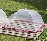 Bloominghome Fliegenhaube Abdeckhaube Speiseglocke Faltbar Rot, Sterne Weiß