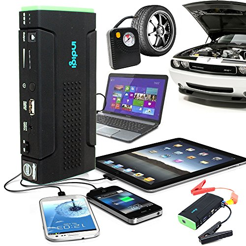 Indigi® Heavy Duty Tragbarer Power Bank Akku Jump Starter w/Tire Air Kompressor inflators gebündelt + Durable Hard Case Kit Jump Starter Inflator