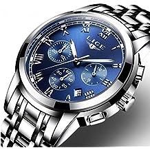 Uhr, Herrenuhren, Luxus Klassisch Schwarz Edelstahl Uhren Business Casual Uhren Wasserdichte Multifunktions-Quarz Armbanduhren Herrenuhren