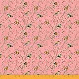 Soimoi Orange Viskose Chiffon Stoff Blatter & flowerpecker