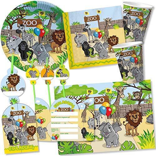 DH-Konzept/Carpeta: 108-tlg Party-Set * Zoo & ZOOTIERE * für Kindergeburtstag mit Teller + Becher + Trinkhalme + Servietten + Einladungen + Tischsets + Luftschlangen + Luftballons, u.v.m.