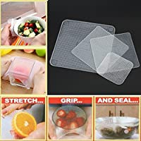 Pramukh Enterprice Top Quality 4 pcs Reusable Silicone Food Wraps - Seal Cover Stretch and Seal Multifunctional Food Fresh Keeping Wraps Kitchen Tools